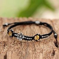 Citrine braided cord bracelet, 'Daisy in Summer' (Thailand)