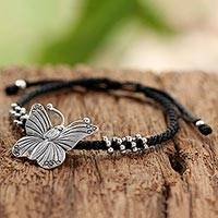 Silver pendant bracelet, 'The Butterfly' - Hand Crafted Silver Butterfly Pendant Bracelet from Thailand