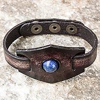 Lapis lazuli and leather wristband bracelet,