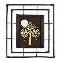 'Silver Full Moon' - Gold Bodhi Tree Silver Moon with Frame Buddhist Art Painting