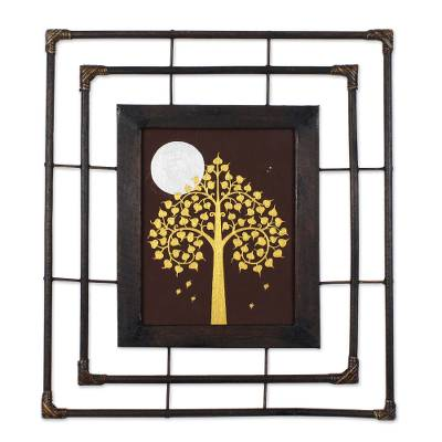 Gold Bodhi Tree Silver Moon with Frame Buddhist Art Painting