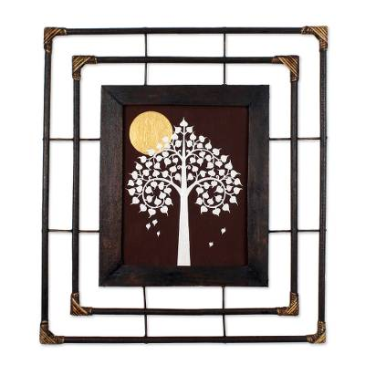 'Golden Full Moon' - Buddhist Art Painting Bodhi Tree Golden Moon with Frame
