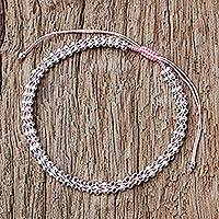 Sterling silver wristband bracelet, 'Enchanted Silver in Pink' - Handcrafted Sterling Silver Chain Bracelet with Pink Cord