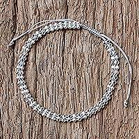 Sterling silver wristband bracelet, 'Enchanted Silver in Grey' - Thai Sterling Silver Wristband Bracelet in Grey