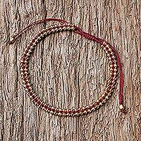 Gold plated sterling silver wristband bracelet, 'Enchanted Gold in Red' - Thai Gold Plated Sterling Silver Bracelet in Red
