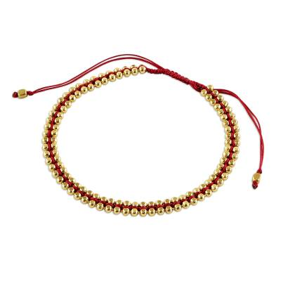 Thai Gold Plated Sterling Silver Bracelet in Red
