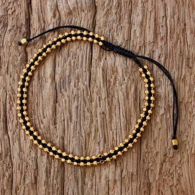 Gold plated sterling silver wristband bracelet, 'Enchanted Gold in Black' - Thai Gold Plated Sterling Silver Wristband Bracelet in Black