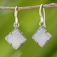 Drusy quartz dangle earrings, 'Sparkling Jasmine' - 24k Gold Accent Sterling Silver Drusy Quartz Dangle Earrings