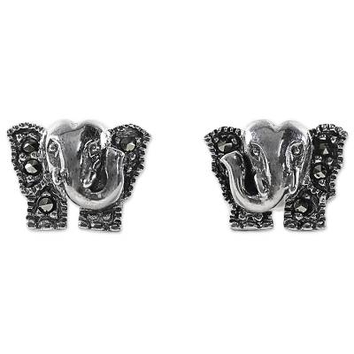Sterling Silver and Marcasite Elephant Stud Earrings