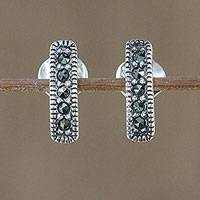 Marcasite drop earrings, 'Sparkling Charm' - Sterling Silver and Marcasite Drop Earrings from Thailand