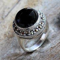 Onyx single stone ring, 'Onyx Promise' - Sterling Silver and Onyx Single Stone Ring from Thailand