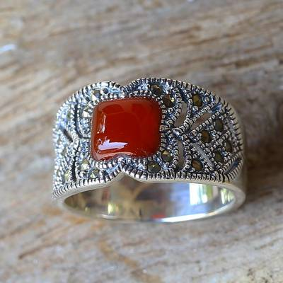Chalcedony and Marcasite Single Stone Ring from Thailand