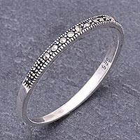 Marcasite band ring, 'Glistening Road' - Marcasite and Sterling Silver Band Ring from Thailand