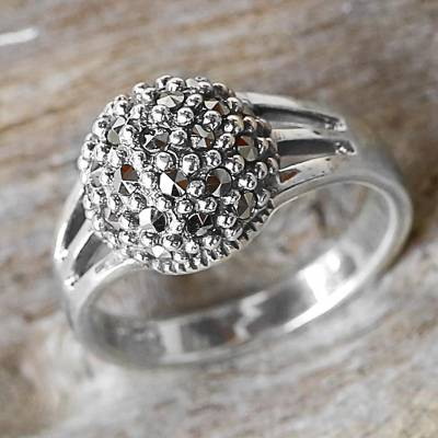 Marcasite cocktail ring, 'Glistening Dome' - Sterling Silver and Marcasite Cocktail Ring Thailand