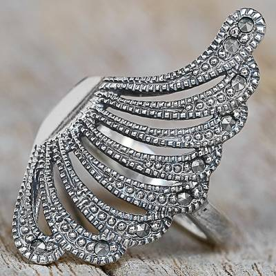 Sterling Silver Marcasite Cocktail Ring Wing Thailand