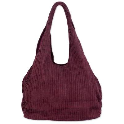 100% Cotton Textured Shoulder Bag in Wine from Thailand