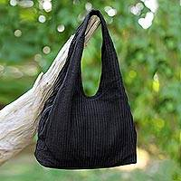 Cotton shoulder bag, 'Thai Texture in Black' - 100% Cotton Textured Shoulder Bag in Black from Thailand