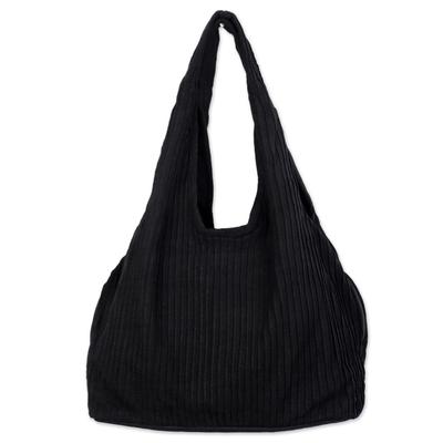 100% Cotton Textured Shoulder Bag in Black from Thailand