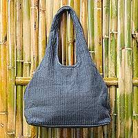 Cotton shoulder bag, 'Thai Texture in Grey' - 100% Cotton Textured Shoulder Bag in Grey from Thailand