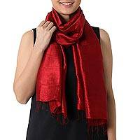 Silk scarf, 'Shimmering Crimson' - Hand Woven Fringed Silk Scarf in Crimson from Thailand