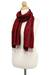 Silk scarf, 'Shimmering Crimson' - Hand Woven Fringed Silk Scarf in Crimson from Thailand (image 2c) thumbail