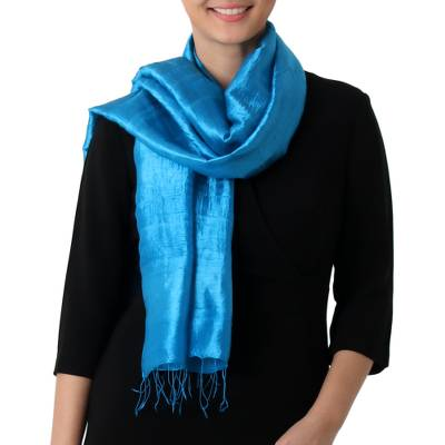 Silk scarf, 'Shimmering Cyan' - Hand Woven Fringed Silk Scarf in Cyan from Thailand