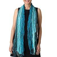 Silk scarf, 'Sweet Wonder' - Hand Woven Fringed Silk Scarf in Blue-Green from Thailand