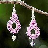 Beaded silk dangle earrings, 'Sparkling Lilies in Pink' - Silk and Glass Beaded Dangle Earrings in Pink Thailand