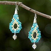 Beaded silk dangle earrings, 'Sparkling Lilies in Turquoise' - Silk and Glass Beaded Dangle Earrings in Turquoise Thailand