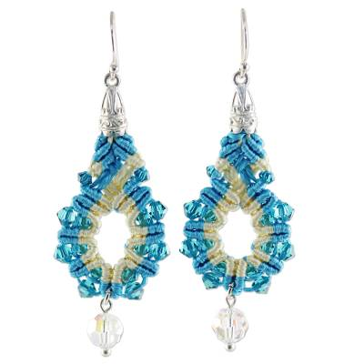 Silk and Glass Beaded Dangle Earrings in Turquoise Thailand