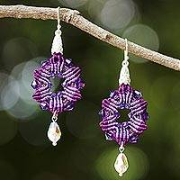 Beaded silk dangle earrings, 'Sparkling Rosettes in Purple' - Silk and Glass Beaded Dangle Earrings in Purple Thailand