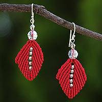Beaded silk dangle earrings, 'Sparkling Leaves in Red' - Silk and Glass Beaded Dangle Earrings in Red from Thailand