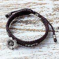 Silver beaded macrame bracelet, 'Flower in Summer' - Hand Made Brown Braided Bracelet with Karen Silver Flower