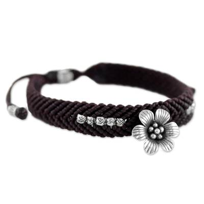 Hand Made Brown Braided Bracelet with Karen Silver Flower