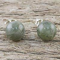 Labradorite stud earrings, 'Mystical Orbs' - Sterling Silver and Labradorite Stud Earrings from Thailand