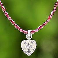 Silver and garnet pendant necklace, 'Fiery Heart' - Garnet and Silver Beaded Pendant Necklace from Thailand