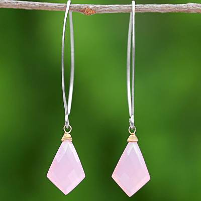 Gold accent chalcedony dangle earrings, 'Pink Lily Crystals' - Long Pink Gold Accent Chalcedony Dangle Earrings Thailand