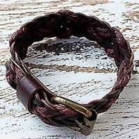 Leather wristband bracelet, 'Chiang Mai Braid in Brown' - Brown Leather Braided Wristband Bracelet from Thailand