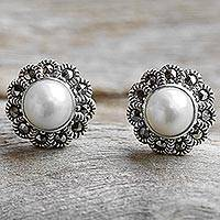 Cultured pearl and marcasite stud earrings,