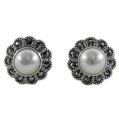 Cultured Pearl Marcasite Stud Earrings from Thailand