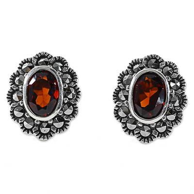 Garnet and Marcasite Stud Earrings from Thailand