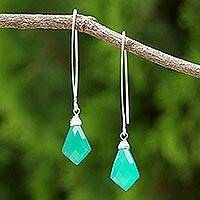 Chalcedony dangle earrings, 'Teal Orchid' - Teal Chalcedony Dangle Earrings from Thailand