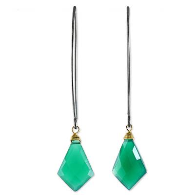 Gold Accent Teal Chalcedony Dangle Earrings from Thailand