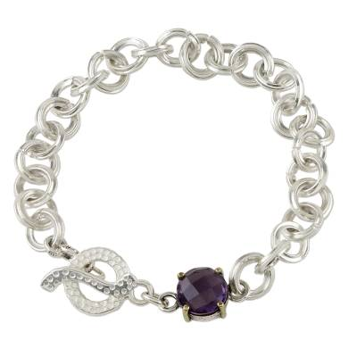 Sterling Silver Chain and Amethyst Pendant Bracelet