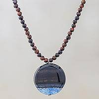 Agate and quartz pendant necklace, 'Blue Descent' - Agate and Quartz Beaded Pendant Necklace from Thailand
