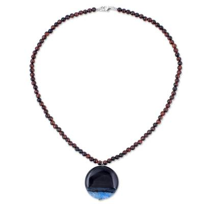 Agate and Quartz Beaded Pendant Necklace from Thailand