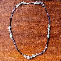Multi-gemstone beaded necklace, 'Midnight Wanderer' - Amethyst Onyx and Fluorite Beaded Necklace from Thailand