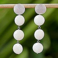 Quartz dangle earrings, 'Floating Moons' - White Quartz Dangle Earrings from Thailand