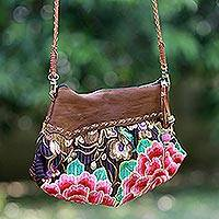 Leather accent shoulder bag, 'Mandarin Garden' - Thai Embroidered Shoulder Bag with Leather Accents