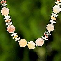 Jade and quartz beaded necklace, 'Moonlight Discs' - Jade Glass and Quartz Beaded Necklace from Thailand
